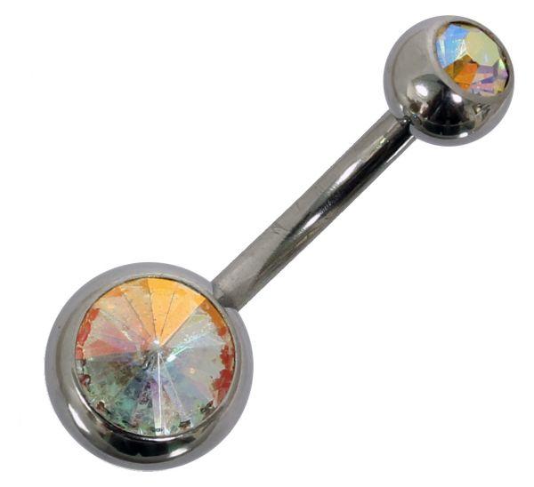Bauchnabelpiercing aus Chirurgenstahl mit 2 Kristallen in bunt Navel Piercing Bauchnabel