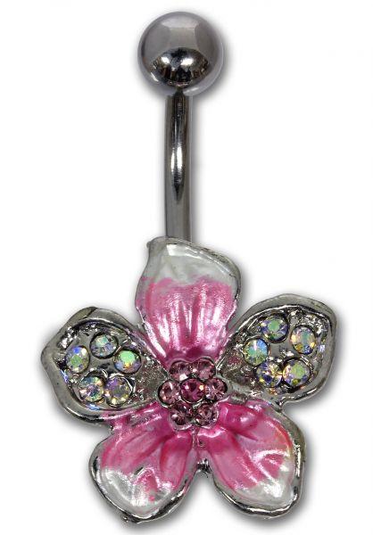 Bauchnabelpiercing TROPICAL FLOWER in pink aus Chirurgenstahl Navel Piercing Bauchnabel