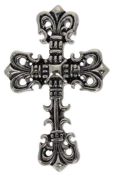 Halskette FLEUR DE LIS KREUZ Edelstahl Anhänger 4,9 cm Cross hochglanzpoliert Schmuck