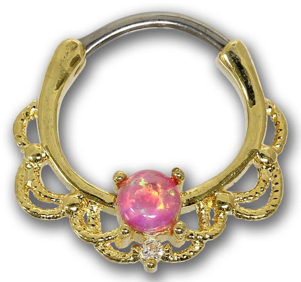 Septum Clicker OPAL rosa vergoldet 316L Chirurgenstahl 1,2 mm Septum Piercing