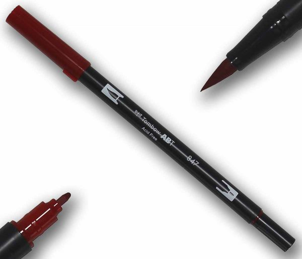 Tombow ABT CRIMSON Double Brush Pen Künstlerstift Fasermaler mit zwei Spitzen