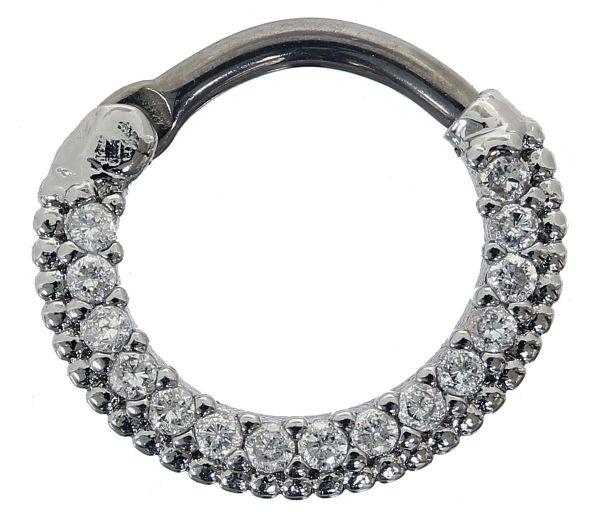 Septum Clicker mit 15 Kristallen KLAR 1,2 mm Septum Piercing Piercingschmuck Chirurgenstahl