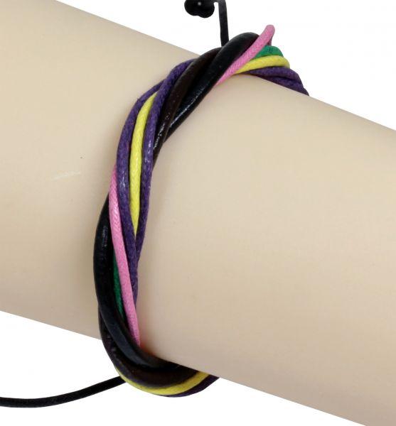 Armband aus Leder in bunt mit gleitendem Knotenverschluß Lederarmband