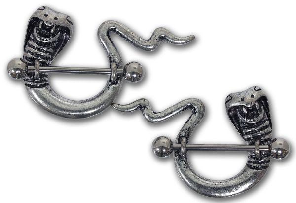 1 Paar Brustwarzenpiercings COBRAS aus Chirurgenstahl - Nipple Shield Brustpiercing
