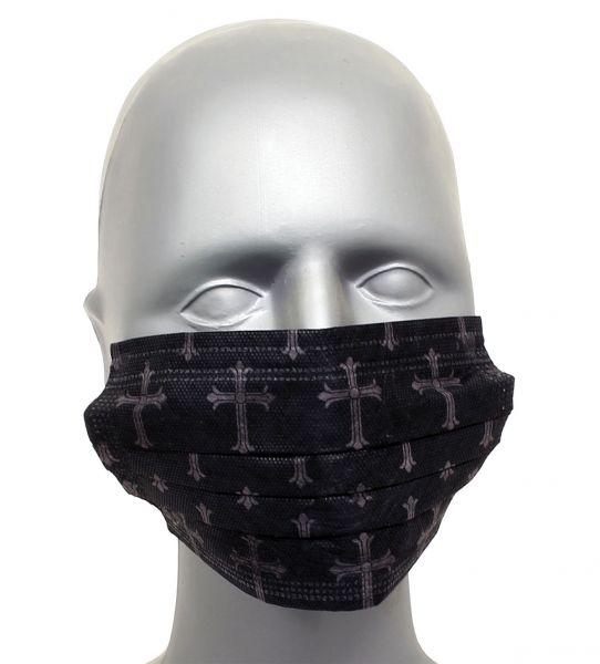 Tattoo Maske Mundschutz CROSS 4-lagig mit Ohrenschlingen