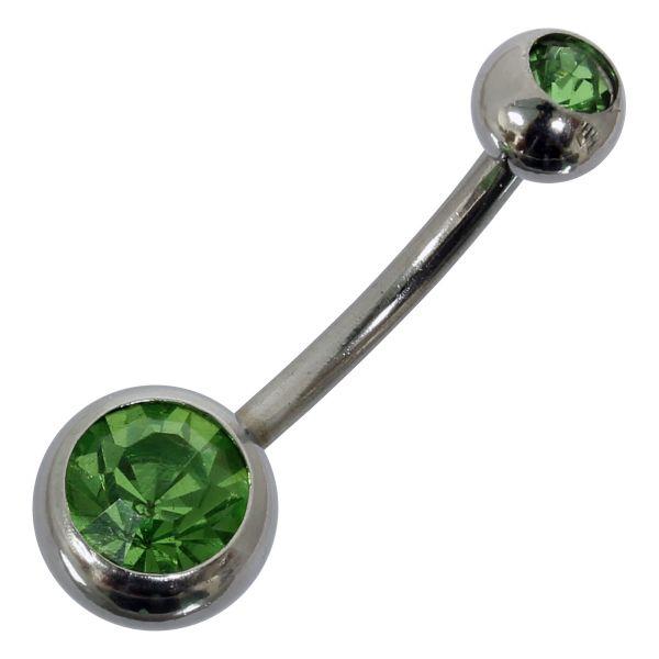 Bauchnabelpiercing aus Chirurgenstahl mit 2 Kristallen in grün Navel Piercing Bauchnabel