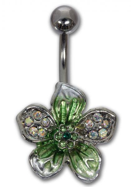 Bauchnabelpiercing TROPICAL FLOWER in grün aus Chirurgenstahl Navel Piercing Bauchnabel