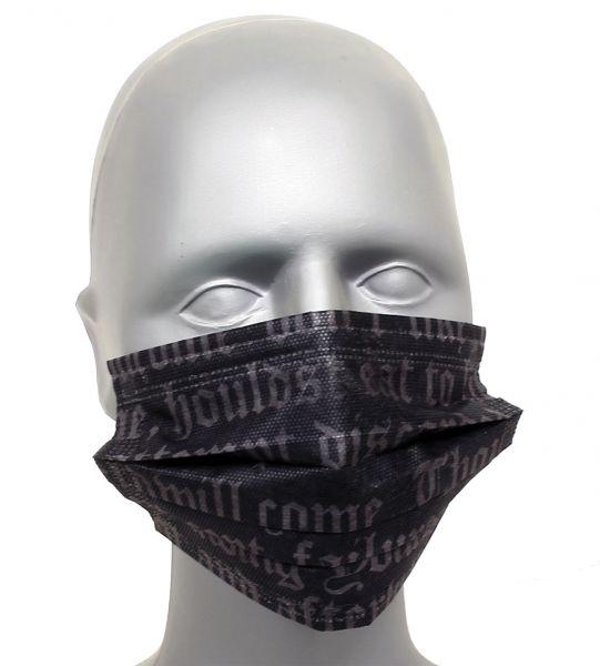 Tattoo Maske Mundschutz ALPHABET 4-lagig mit Ohrenschlingen