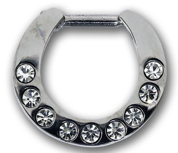 Septum Clicker mit 9 Kristallen KLAR Septum Piercing Piercingschmuck Chirurgenstahl