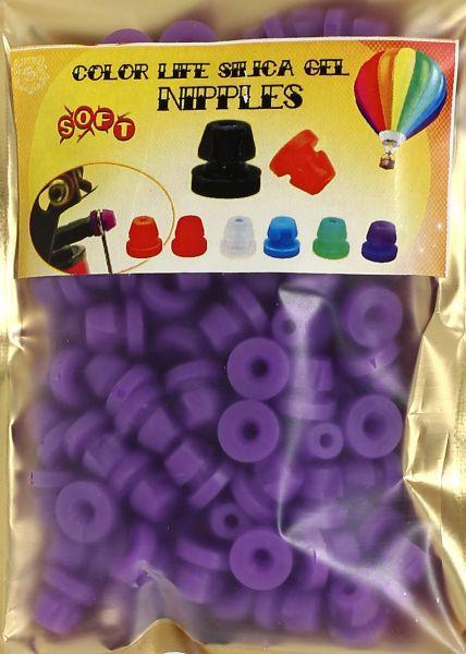 100 Stück Nadelstangengummis in lila H-förmig Silikon mit Einrastfunktion im Druckverschlußbeutel