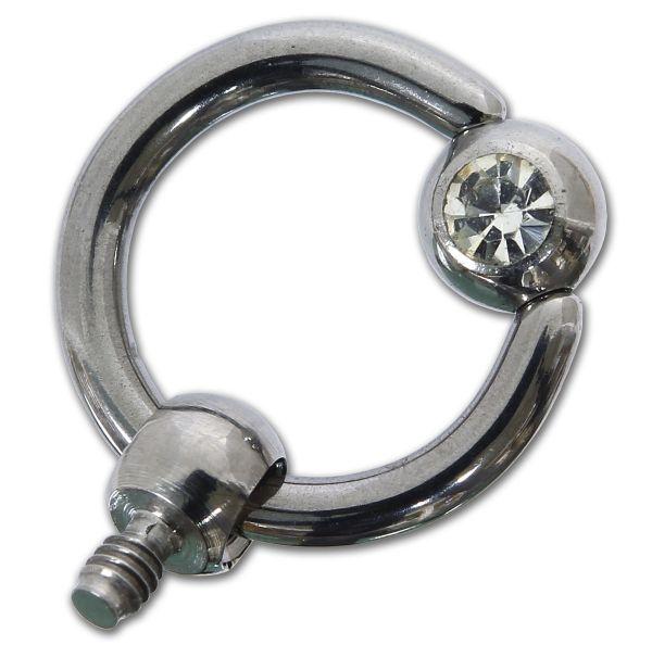 Ring-Aufsatz aus Chirurgenstahl mit Kristall für Dermal Anchors 1,2 mm Gewinde Under Skin Piercing