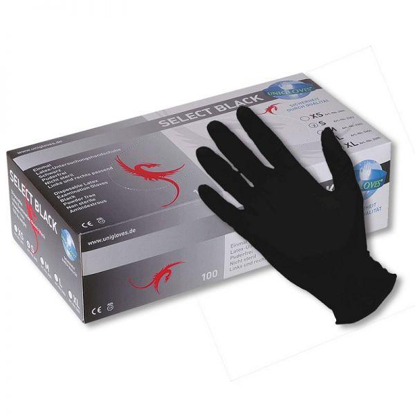 100 Latex-Handschuhe schwarz SELECT BLACK in Größe S - XL - puderfrei