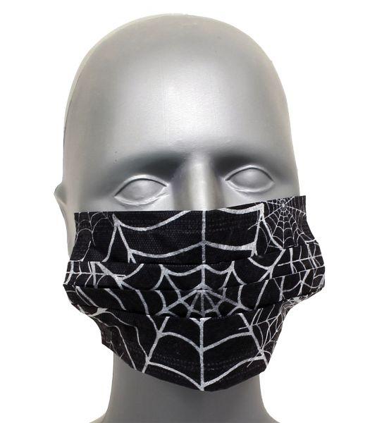 Tattoo Maske Mundschutz SPIDER WEB 4-lagig mit Ohrenschlingen