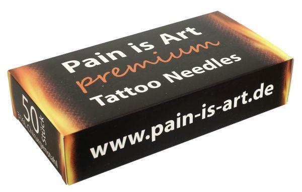 50 Stück Round Shader Tattoonadeln 0,35 mm PAIN-IS-ART PREMIUM Longtaper steril - Größenwahl