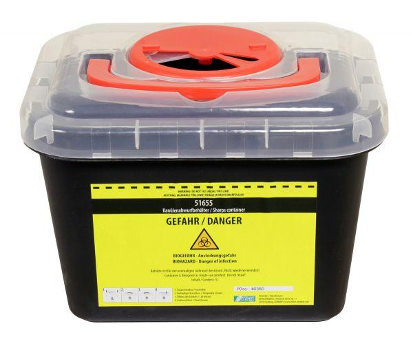 Kanülenabwurfbehälter 1000ml aus Plastik in schwarz Nadelabwurfbehälter-Copy