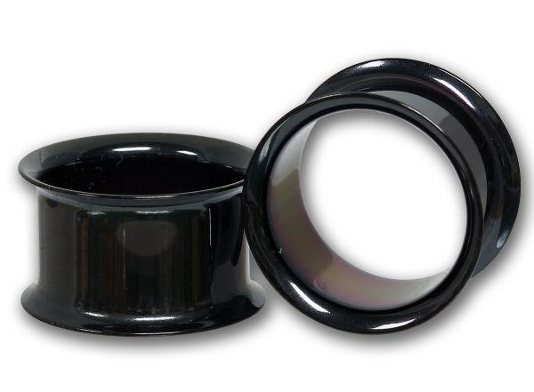 Double Flared Flesh Tunnel BLACK STEEL 2,5 - 25,0 mm aus Chirurgenstahl Ohrschmuck