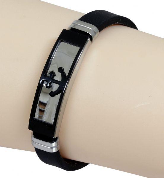 Armband ANKER aus schwarzem Silikon und Edelstahl 20,7 cm