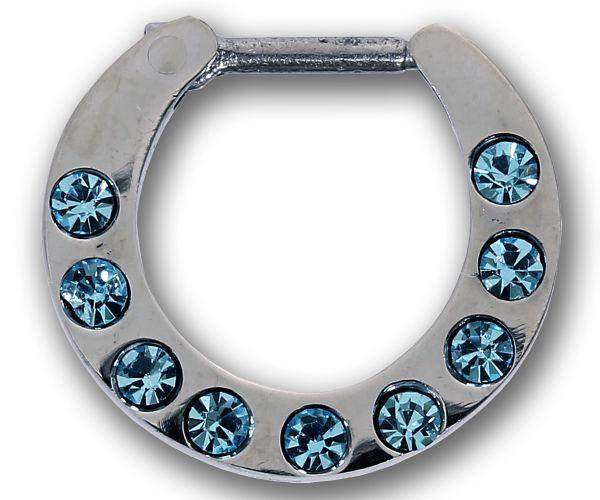 Septum Clicker mit 9 Kristallen TÜRKIS Septum Piercing Piercingschmuck Chirurgenstahl