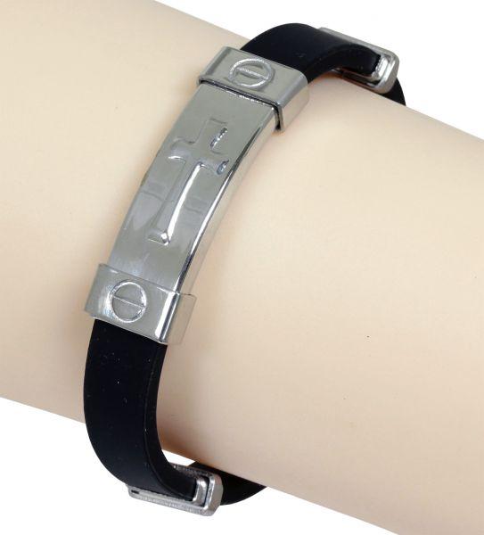 Armband KREUZ SILBER aus schwarzem Kautschuk und Edelstahl 18,5 cm