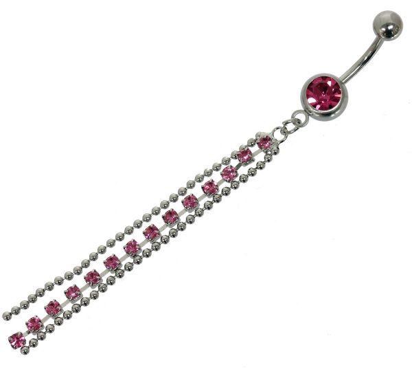 Bauchnabelpiercing KETTCHEN aus Chirurgenstahl rosa Kristalle Navel Piercing Bauchnabel