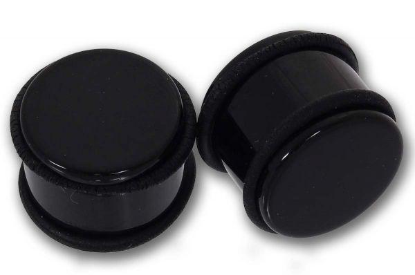 Plug aus schwarzem Acryl 8 - 25 mm mit 2 O-Ringen Ohrschmuck Piercing
