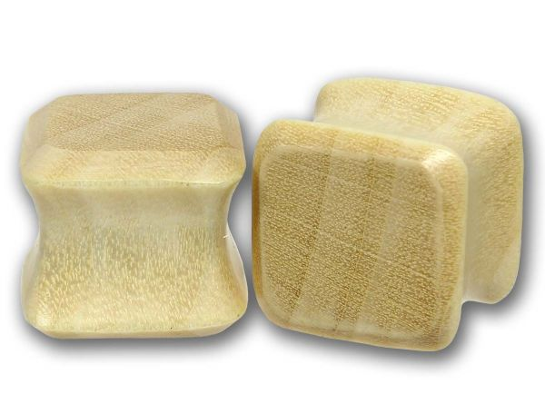 Double Flared Viereck Plug Blonde Crocadile Wood 6,0 - 25 mm Ohrschmuck Flesh Tunnel