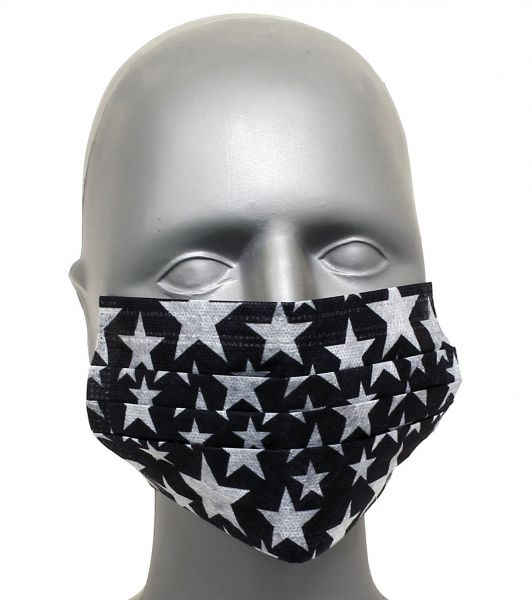 Tattoo Maske Mundschutz STARS 4-lagig mit Ohrenschlingen