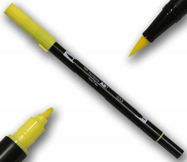 Tombow ABT PROCESS YELLOW Double Brush Pen Künstlerstift Fasermaler mit zwei Spitzen