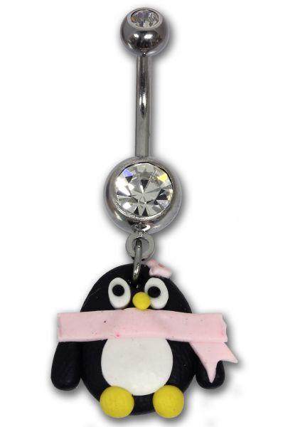 Bauchnabelpiercing PINGUIN aus Chirurgenstahl und Kunststoff Navel Piercing Bauchnabel