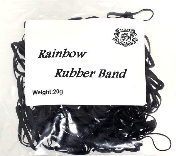 20g Maschinengummis in schwarz für Tattoomaschinen ca. 240 Stück Rainbow Rubber Band Gummiband