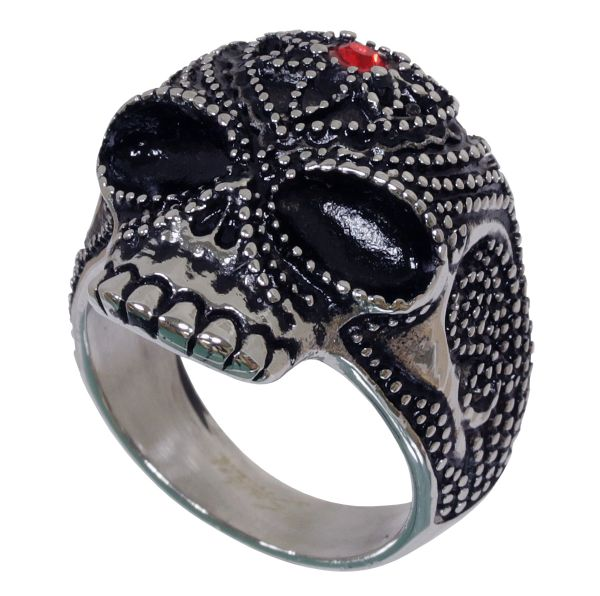 Edelstahl Ring PERLEN SCHÄDEL mit Kristall Fingerring in verschiedenen Größen Biker