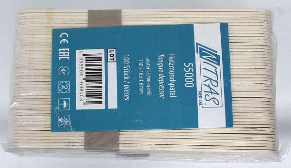 100 Stück Mundspatel Nitras Medical® aus Holz zur äußeren Wundversorgung Holzmundspatel 150 x 18 mm