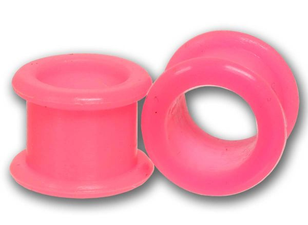 Flexi Flesh Tunnel 4 - 16 mm aus pinkfarbenem Silikon Ohrschmuck Plug