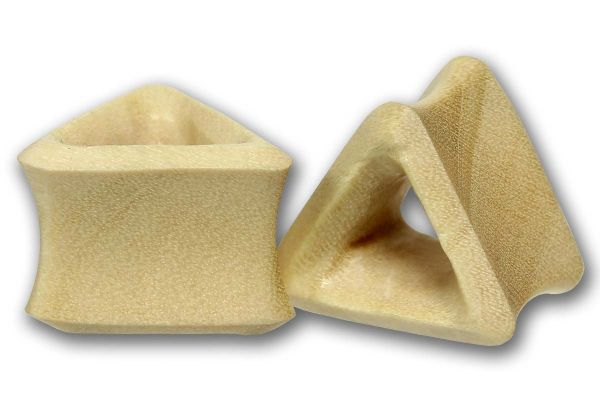 Double Flared Triangel Flesh Tunnel Blonde Crocadile Wood 6,0 - 25 mm Ohrschmuck Plug