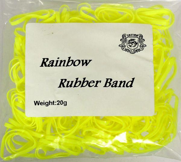 20g Maschinengummis in gelb für Tattoomaschinen ca. 240 Stück Rainbow Rubber Band Gummiband