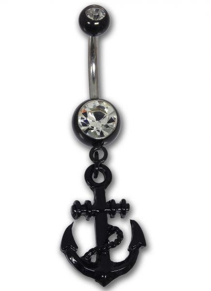 Bauchnabelpiercing ANKER aus schwarzem Chirurgenstahl Navel Piercing Bauchnabel