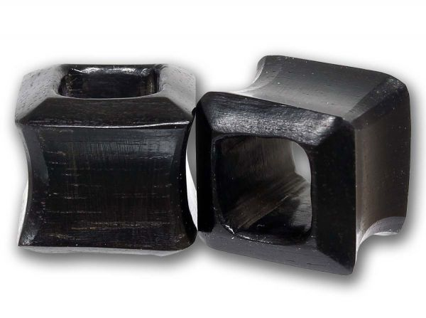 Double Flared Viereck Flesh Tunnel Black Areng Wood 6,0 - 25 mm Ohrschmuck Plug