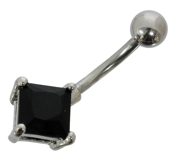 Bauchnabelpiercing KARO mit schwarzem Kristall Navel Piercing Bauchnabel Navel Piercing Bauchnabel